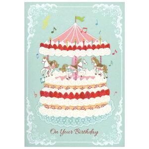 バースデーカード ミュージックカード メリーゴーランドケーキ EAO-753-566 ホールマーク 二つ折り 定郵 グリーティングカード オルゴールカード Birthday Card メール便可