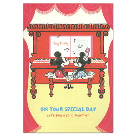 バースデーカード Disney ディズニー オルゴールカード ピアノ連弾ミッキー&ミニー EAO-715-038 ホールマーク 軽快なピアノ連弾のメロディーが流れる二つ
