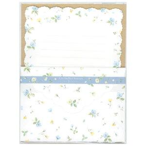 ダイカット レターセット 青小花柄 CGL728 (A-0) 便箋2柄10枚・封筒2柄4枚 クリエイトジー ブルーフラワー 大人 オシャレ シンプル