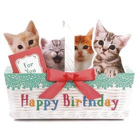 バースデーカード メロディカード P240 ねこかご サンリオ 子ねこたちが鳴き声で歌うミュージック お誕生日カード Birthday Card グリーティングカード お誕