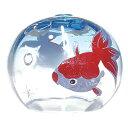 ガラス風鈴 シルクぎやまん風鈴 金魚(マリンブルー) R-198 会津喜多方 蒔絵仕上げ 手作り風鈴 木之元