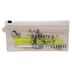 スヌーピー ペン定規セット ペンケース クリーム S4538773 サンスター ボールペン 蛍光マーカー 定規 プチギフト SUN-STAR