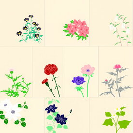 鳩居堂 初夏のハガキ 10枚セット kyu-51 つつじ・都わすれ・あざみ・鉄線・カーネーション・どくだみ・つりがね草・アネモネ シルクスクリーン印刷 きゅうきょどう ポストカード はがき