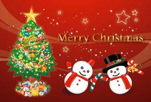 ● Merry Chistmas ! 雪だるま・赤  「アラカルト・ポストカードのみ」 絵はがき・ポストカード 【メール便OK】