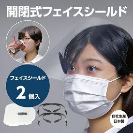 花粉症対策、飛沫防止に! 開閉式フェイスシールド ガードワン フェイスシールドスターターキット(黒)