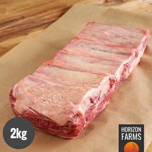 オーストラリア産 100% グラスフェッド プレミアム ビーフ アンガス牛 ショートリブ カルビ ブロック骨付き 2kg 牧草牛 ホルモン剤不使用 抗生物質不使用 遺伝子組換え飼料不使用 オージー・