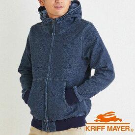 (SALE)Kriff Mayer(クリフメイヤー)インディゴツイードボリュームネックジップパーカー【1824001】