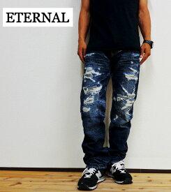 ETERNAL(エターナル)ハイインパクトクラッシュヴィンテージストレートリメイクジーンズ(デニムパンツ/ダメージパンツ/53571)送料無料/日本製