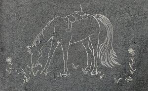 『みち草』ネイビーマルシェバッグイラストレーター:チアブーコリサイクルコットン素材Illustrationチアブーコ