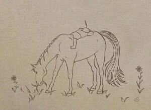 【チアブーコ】の優しい馬のイラストバッグ『みち草』リサイクルコットンシャンブリック素材Illustrationチアブーコ