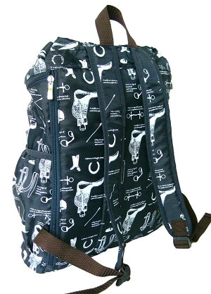クラシカルな馬具が描かれたバックパック〜forEquestrian〜背面サイドジップからも出し入れ楽々軽くて丈夫なリップストップ生地