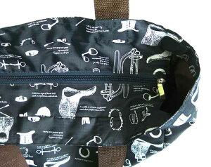 クラシカルな馬具が描かれたトートバッグサイドポケット付き〜forEquestrian〜軽くて丈夫なリップストップ生地