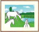 額付きイラスト 〜雨上がり〜馬のイラストレーター おがわじゅり 直筆サイン入り送料無料