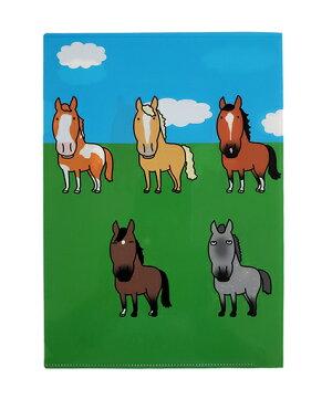 クリアファイルA5【ウマクイク・UMA9IKU】馬が9頭でウマクイクおがわじゅりイラスト1枚入り