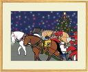 額付きイラスト〜聖夜の大一番〜馬のイラストレーター おがわじゅり 直筆サイン入り送料無料