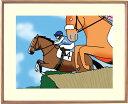 額付きイラスト 〜障害飛越ジャンプ〜馬のイラストレーター おがわじゅり 直筆サイン入り送料無料