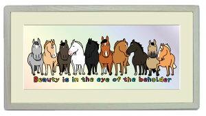 額付きイラスト〜十頭十色☆それぞれの個性が光る☆〜馬のイラストレーターおがわじゅり直筆サイン入り送料無料