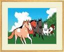 額付きイラスト〜夏のよ〜いどん!!〜馬のイラストレーター おがわじゅり 直筆サイン入り送料無料