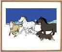 額付きイラスト 〜Matching〜馬と犬〜 馬のイラストレーター おがわじゅり 直筆サイン入り送料無料・2018 戌年