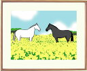 額付きイラスト 〜菜の花畑で〜馬のイラストレーター おがわじゅり 直筆サイン入り送料無料