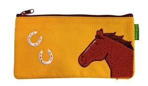 馬と蹄鉄・サガラ刺繍スリムポーチ・イエロー・黄・デイジー帆布素材ペンポーチイラストおがわじゅりホースシューオリジナル