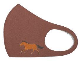 馬の毛色カラー抗菌マスク:鹿毛:茶洗えるマスク・吸汗速乾おがわじゅりイラストマスク入り数1枚馬柄・毛色・マスク 選べる2サイズ抗菌・防臭機能付きポリエステルマスク