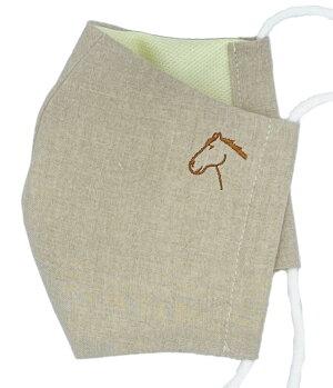 馬の横顔マスク:麻リネン・イエロー:使い捨てない布マスク・制菌おがわじゅりイラストモチーフ刺繍ワンポイント馬柄マスク男女兼用大人用サイズ国内生産馬グッズのホースシューオリジナル