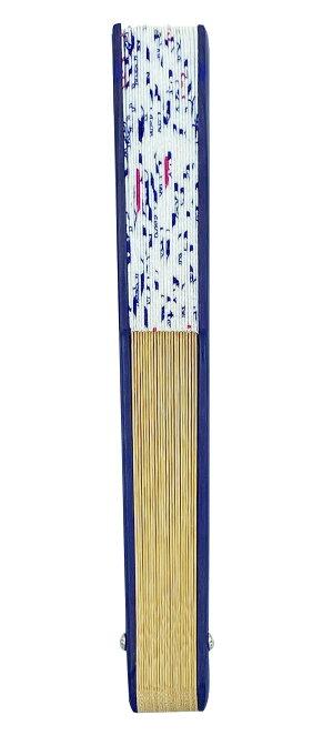 馬柄布扇子:青・紺系・ネイビー・チラシ柄馬の扇子・ウマ扇子・和装小物・馬のチラシ柄