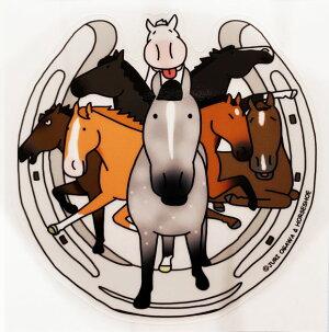 毛色8レンジャー〜色々な毛色が集合!馬のイラストレーターおがわじゅりステッカー【ゆうメール便OK】