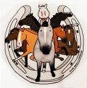 毛色8レンジャー〜色々な毛色が集合!馬のイラストレーターおがわじゅりステッカー【ゆうメール便(小型宅配便選択)可】