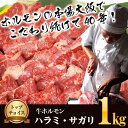 国産牛ホルモン専門卸店の特上ハラミ・サガリ 500g×2パック 計1kg 味付けなし 業務用【あす楽対応】