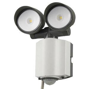 LEDセンサーライト 2灯 屋外 屋内 LED ライト1200lm コンセント式 人感・明暗センサー 防犯対策 防水仕様 クランプ式 オーム電機