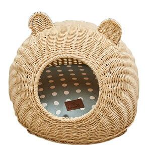 ドーム型ペットベット ペットハウス 猫用ハウス キャットトンネル 小型犬ベッド 夏 通気性抜群 おしゃれ 丈夫 可愛い猫耳型 クリーム色 猫 ペット ベッド 猫ベッド ねこ ベット 犬 キャット