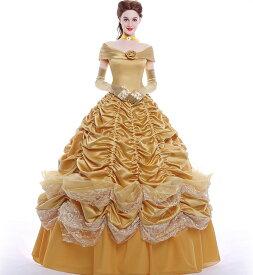 プリンセスドレス ベル コスプレ 大人用 プリンセス 女王 ハロウィン クイーン princess 衣装 仮装 女性 コスチューム 女性用 なりきり お姫様 レディース ロング クリスマス プリンセスワンピース 童話 なりきりワンピース 舞台衣装 パーディー ステージH284