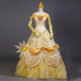 プリンセスドレス ベル コスプレ 大人用 プリンセス 女王 ハロウィン クイーン princess 衣装 仮装 女性 コスチューム 女性用 なりきり お姫様 レディース ロング クリスマス プリンセスワンピース 童話 なりきりワンピース 舞台衣装 パーディー ステージH388