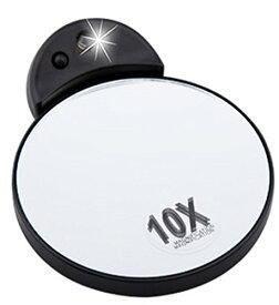 LEDミラー コンパクトミラー 手鏡 10倍 拡大鏡 LEDスポットライト付き メイク直し 化粧ポーチ 細かいメイク用 10倍ミラー ( アイメイク 鼻毛 まつげ まついく ケア用 10倍拡大鏡)【メーカー直販品】 電池付き 送料無料