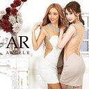 AngelR デコルテビジュー&シアータイトミニドレス キャバ ドレス タイト ノースリーブ ビジュー メッシュ パーティー…