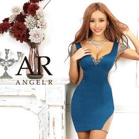 AngelR ビジューメッシュスリーブタイトミニドレス キャバ ドレス タイト ノースリーブ ビジュー メッシュ パーティードレス 結婚式 ボディコン AR20328 []