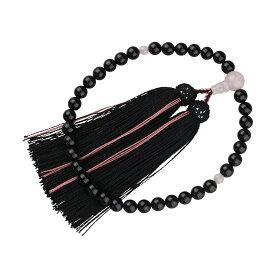 数珠(女性用 略式)京念数/全宗派対応/オニキス7mm(紅水晶仕立) 黒・ピンクライン 送料無料