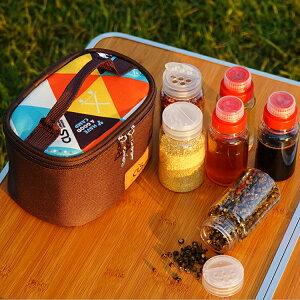 調味料ケース ポータブル調味料収納バッグ 液体/粉末ボトル6本&バッグセット 出し入れ簡単 持ち運び楽々 ワンタッチ蓋 穴付き アウトドア クッキング キャンプ BBQに最適 スパイスボックス