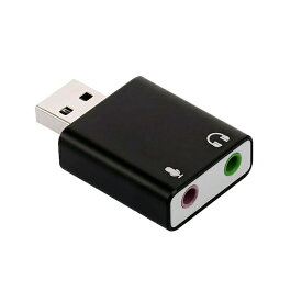 USB外付けサウンドカード USB⇔オーディオ変換アダプタ 3.5mmミニジャック ヘッドホン出力/マイク入力対応 小型軽量 5.1ch/3Dサラウンド対応 オーディオインターフェイス PCゲームやボイスチャットに最適 PFUOS15015