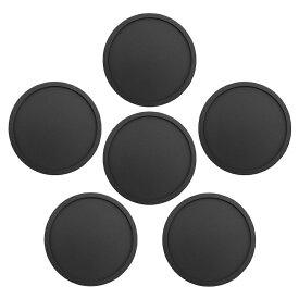 シリコン製コースター 6枚セット ブラック 丸型 耐水 耐熱コースター ソフトシリコン素材 立体型 ノンスリップ カップホルダー お手入れ簡単 シンプルデザイン CCSS06S