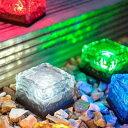 七色に輝く!アイスキューブ型ソーラーLEDライト 防水仕様 ソーラー充電式 光センサーで自動点灯 SICELED01