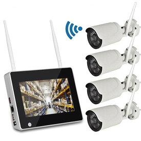 7インチモニター無線防犯カメラ4台セット 屋内・屋外両用 遠隔監視 日本語 HDD録画 CSY714