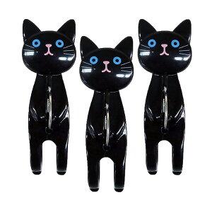 明邦/MEIHO 猫 ねこ おすわり 洗濯ばさみ クロ 3個セット ねこのしっぽの物語 ME242