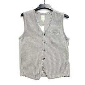 Sweaterie by gim メンズ サマーベスト ジレ 前開き ライトグレー 日本製 父の日ギフト好適品