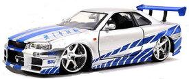 ワイルドスピードミニカー 1/24 JadaTOYS☆ワイルドスピード スカイラインGTR シルバー/ブルー