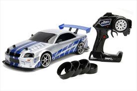 ドリフトラジコンワイルドスピード 1/10 JadaTOYS☆ワイルドスピード スカイラインGTR R34 シルバー/ブルー
