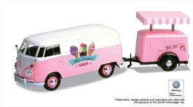 ミニカー 1/24 MOTORMAX 1960 VW フォルクスワーゲンバス アイスクリームトレーラー付 ピンク  【予約商品】