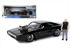 ワイルドスピードミニカー 1/24 JadaTOYS☆ワイルドスピード 1970 ダッジチャージャー 黒 ドムのメタルフィギュア付き!【予約商品】
